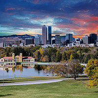 Buy canvas prints of Denver Skyline and Mountains Beyond Lake by Darryl Brooks