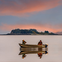 Buy canvas prints of Two Fisherman on Foggy Alaska Waterway by Darryl Brooks