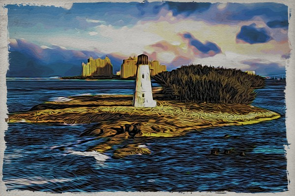 Bahamas Lighthouse with Resort Framed Mounted Print by Darryl Brooks