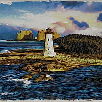 Buy canvas prints of Bahamas Lighthouse with Resort by Darryl Brooks