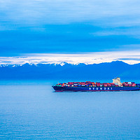 Buy canvas prints of Hyundai Freighter on Blue by Darryl Brooks