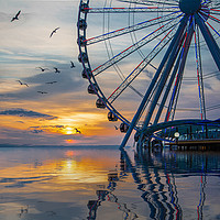 Buy canvas prints of Great Wheel at Sunset with Birds by Darryl Brooks