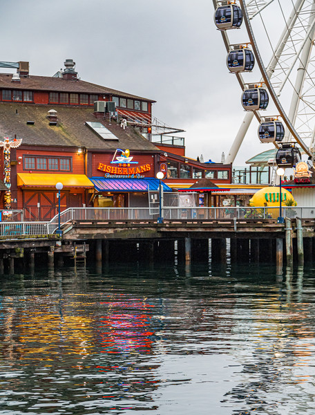 Fishermans Restaurant and Great Wheel Framed Mounted Print by Darryl Brooks
