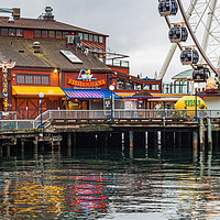 Buy canvas prints of Fishermans Restaurant and Great Wheel by Darryl Brooks