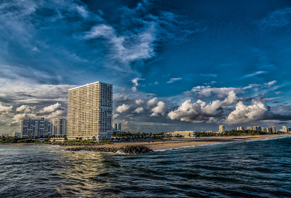 Modern Condos on Fort Lauderdale Beach Print by Darryl Brooks