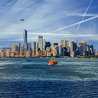 Buy canvas prints of New York City with Ferries and Planes by Darryl Brooks