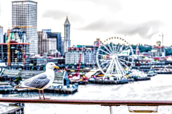 Seagull and Seattle Ferris Wheel Framed Mounted Print by Darryl Brooks