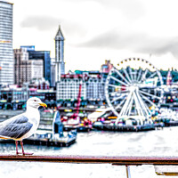 Buy canvas prints of Seagull and Seattle Ferris Wheel by Darryl Brooks