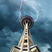 Buy canvas prints of Space Needle Under Clouds by Darryl Brooks