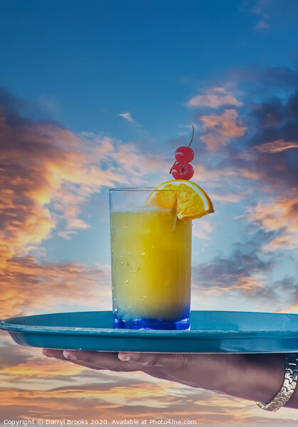 Tropical Drink Over Sunset Print by Darryl Brooks