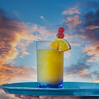 Buy canvas prints of Tropical Drink Over Sunset by Darryl Brooks