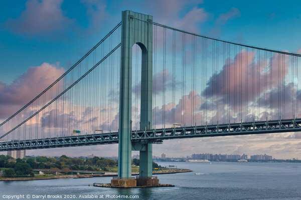 Verrazano Bridge Support Print by Darryl Brooks