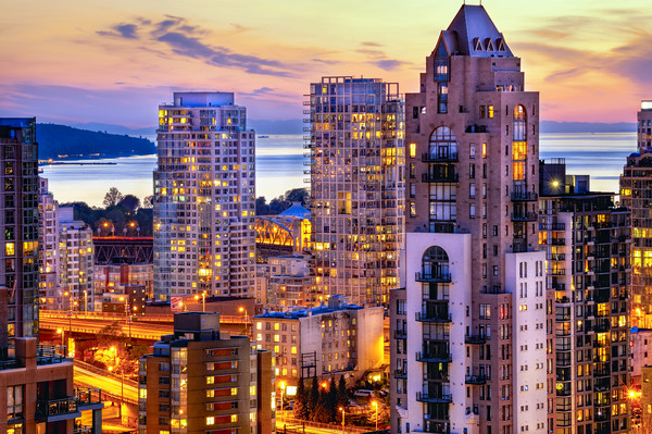 0361 Yaletown and English Bay Vancouver Sunset Pac Canvas print by AMYN NASSER