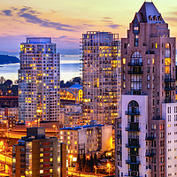 Buy canvas prints of 0361 Yaletown and English Bay Vancouver Sunset Pac by AMYN NASSER