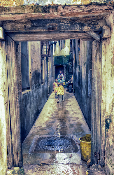 Children Playing - Stonetown Zanzibar 3665 Africa Canvas print by AMYN NASSER