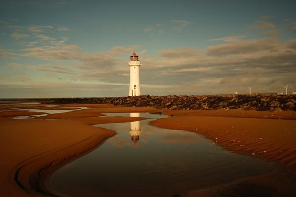 Reflections .   New Brighton Lighthouse ,  Print by .Alexander Pemberton