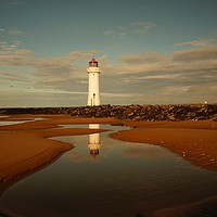 Buy canvas prints of         Reflections .   New Brighton Lighthouse ,  by .Alexander Pemberton
