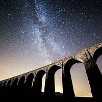 Buy canvas prints of Milky Way over Ribblehead Viaduct by Pete Collins