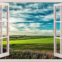 Buy canvas prints of Window onto Sunlit Fields  by Iain Merchant