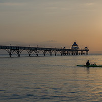 Buy canvas prints of Sunset Clevedon Pier by Edward Kilmartin