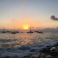 Buy canvas prints of Sun setting in ibiza at cafe mambo by Paul Raynard