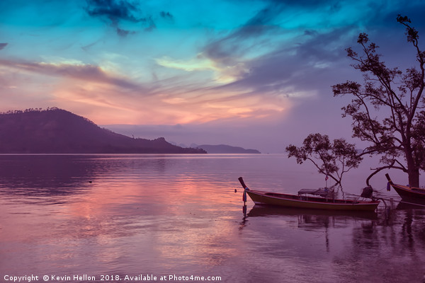 Dawn in Phang Nga Bay from Phuket, Thailand Canvas Print by Kevin Hellon