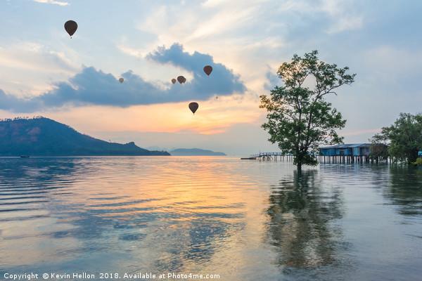 Hot air balloons and mangrove tree Canvas Print by Kevin Hellon