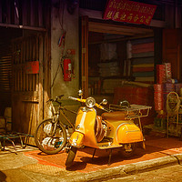 Buy canvas prints of Yellow scooter by Kevin Hellon