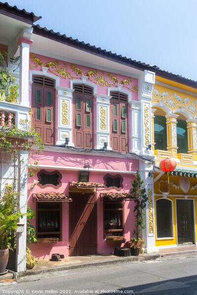 Colourful sino portuguese architecture in Soi Roma Canvas Print by Kevin Hellon