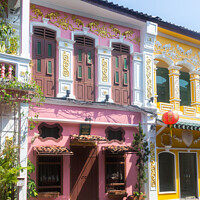 Buy canvas prints of Colourful sino portuguese architecture in Soi Roma by Kevin Hellon