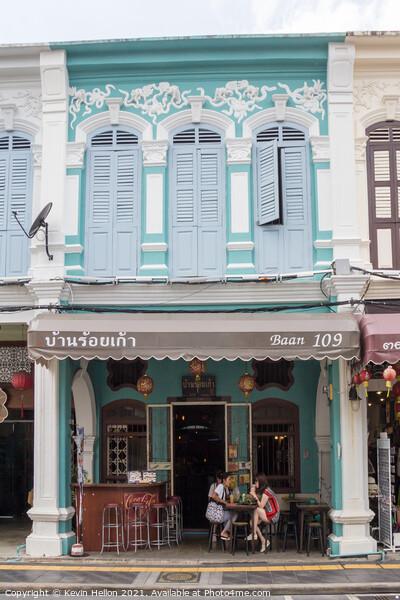Restored sino portuguese architecture shophouse cafe i Canvas Print by Kevin Hellon