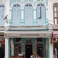 Buy canvas prints of Restored sino portuguese architecture shophouse cafe i by Kevin Hellon