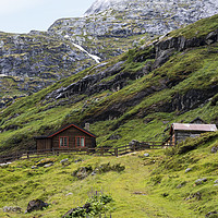 Buy canvas prints of wooden house in nature area Jostedalsbreen by Compu infoto