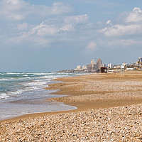 Buy canvas prints of haif beach and the city by Compu infoto