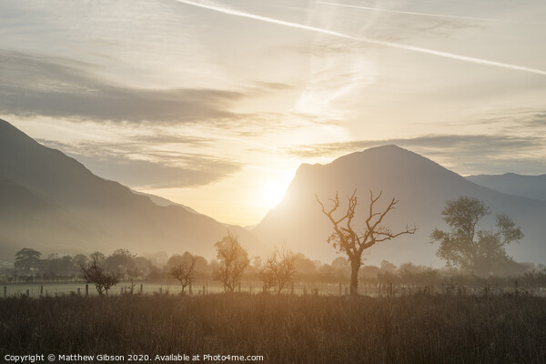 Stunning Winter foggy sunrise over countryside around Crummock Water in Lake District England Print by Matthew Gibson