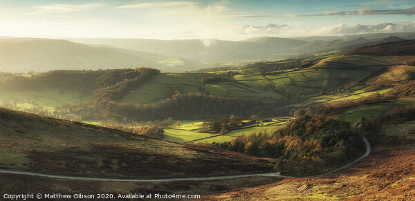 Beautiful landscape view of Hope Valley in Peak District during autumn sunset. Framed Mounted Print by Matthew Gibson