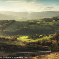 Buy canvas prints of Beautiful landscape view of Hope Valley in Peak District during autumn sunset. by Matthew Gibson