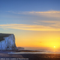 Buy canvas prints of Stunning Winter landscape sunrise above the Seven Sisters cliffs by Matthew Gibson