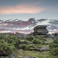 Buy canvas prints of Stunning dawn sunrise landscape image of Higger Tor in Summer in Peak District England by Matthew Gibson