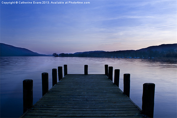 Coniston Jetty Sunset Canvas print by Catherine Evans