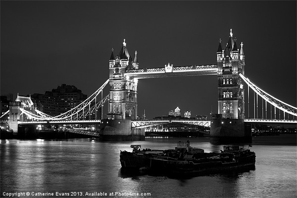 Tower Bridge black and white Canvas print by Catherine Evans