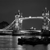 Buy canvas prints of Tower Bridge black and white by Catherine Evans