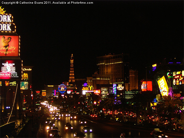 The Las Vegas strip at night Framed Mounted Print by Catherine Evans