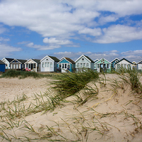 Buy canvas prints of  Beach Huts on Hengistbury Head by Catherine Evans