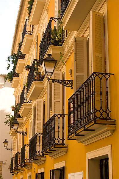 Valencia Balconies Canvas Print by Peter West