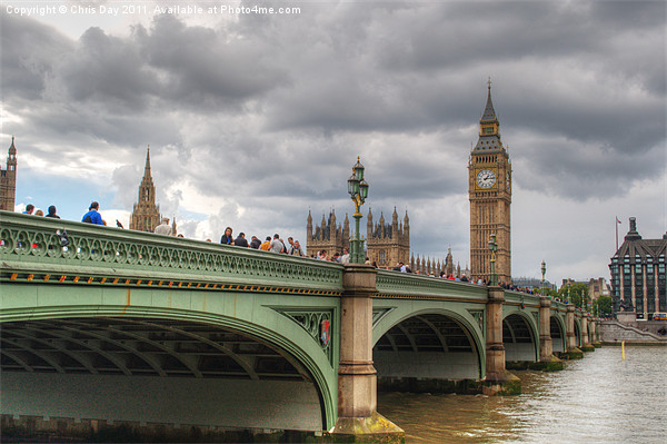Westminster bridge Framed Mounted Print by Chris Day