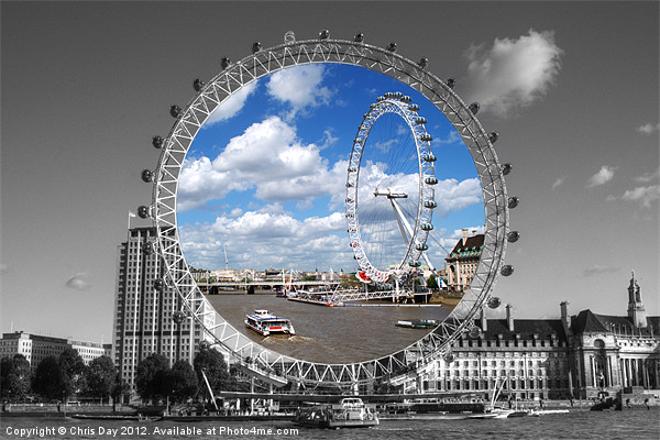 The London Eye Framed Mounted Print by Chris Day