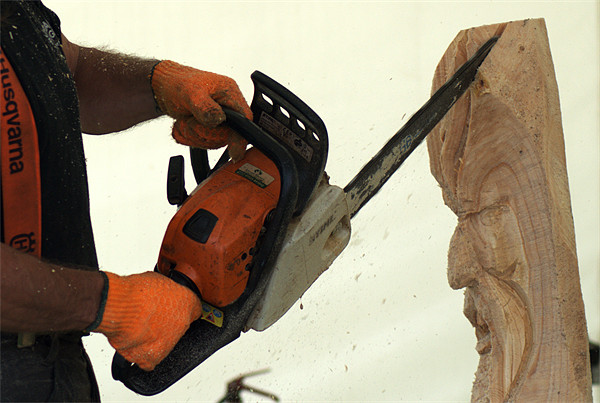 Wood carving with a chainsaw Canvas print by Chris Day