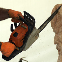 Buy canvas prints of Wood carving with a chainsaw by Chris Day