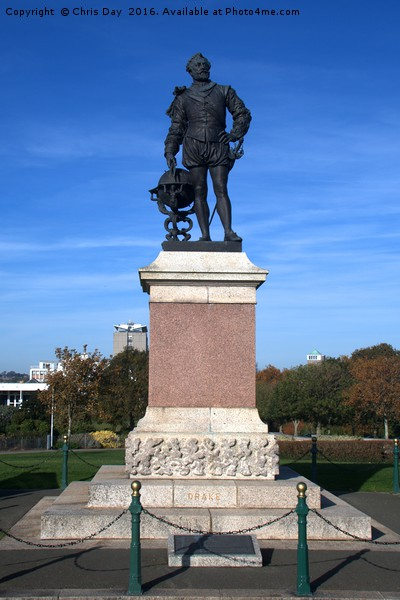 Sir Francis Drake statue on Plymouth Hoe Framed Mounted Print by Chris Day